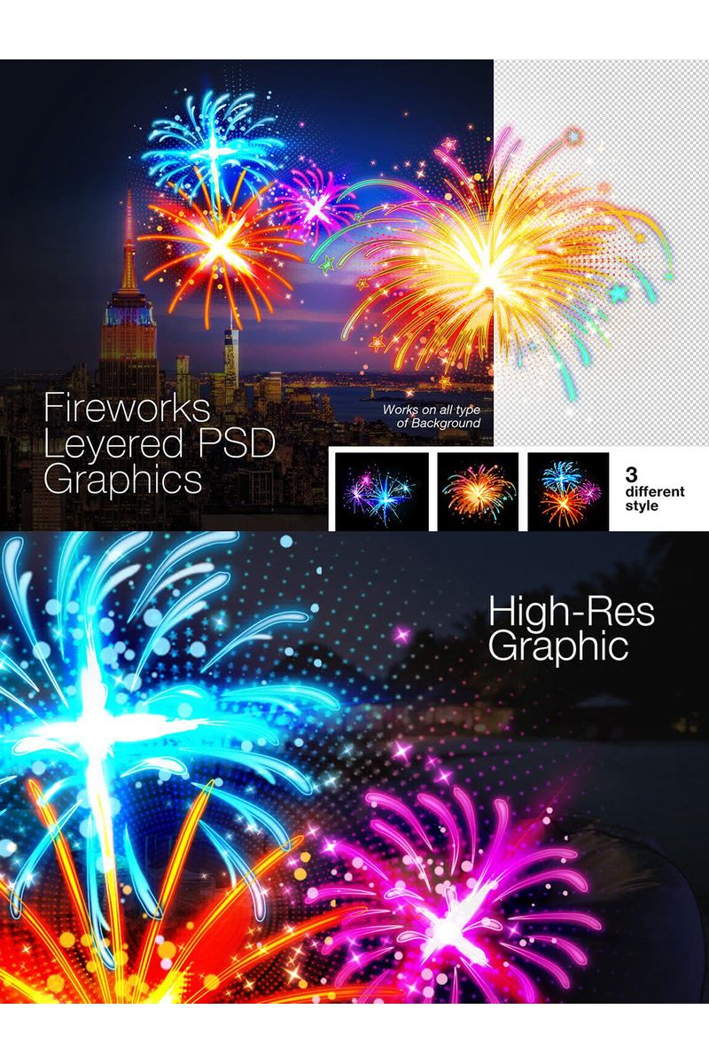 Layered PSD Fireworks Graphics Illustration