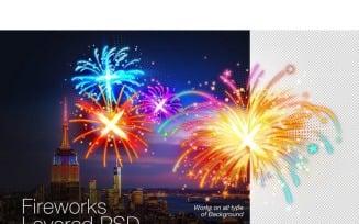 Layered PSD Fireworks Graphics - Illustration