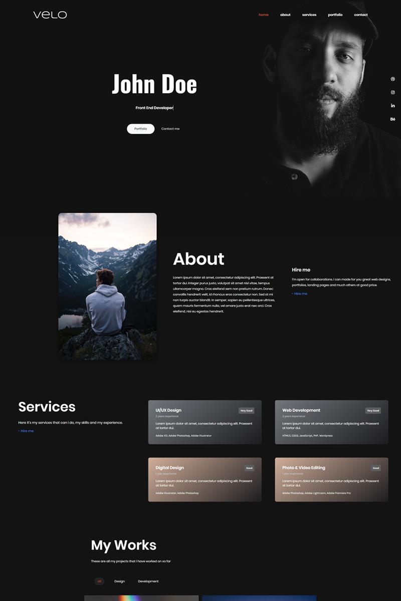 Responsywny szablon Landing Page Velo - Developer Portfolio #99729