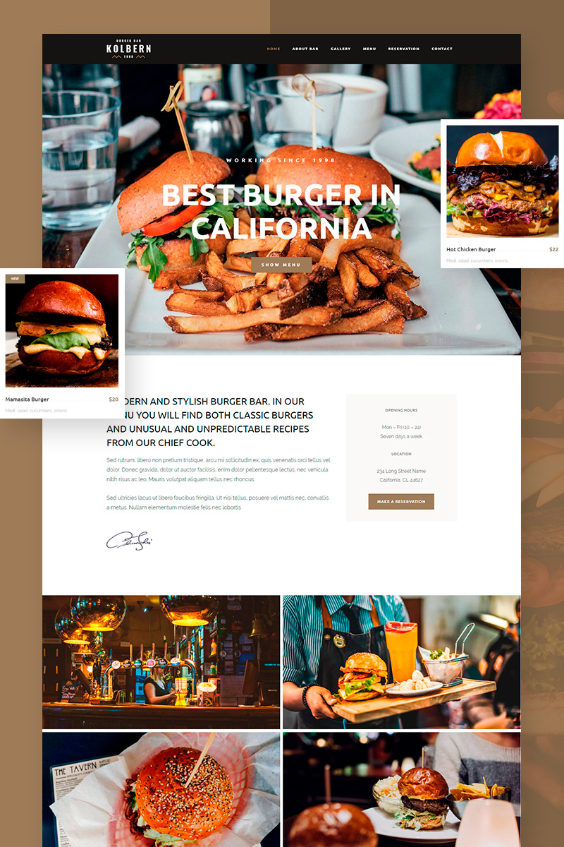 Reszponzív Kolbern Burger Bar & Cafe WordPress sablon 99731