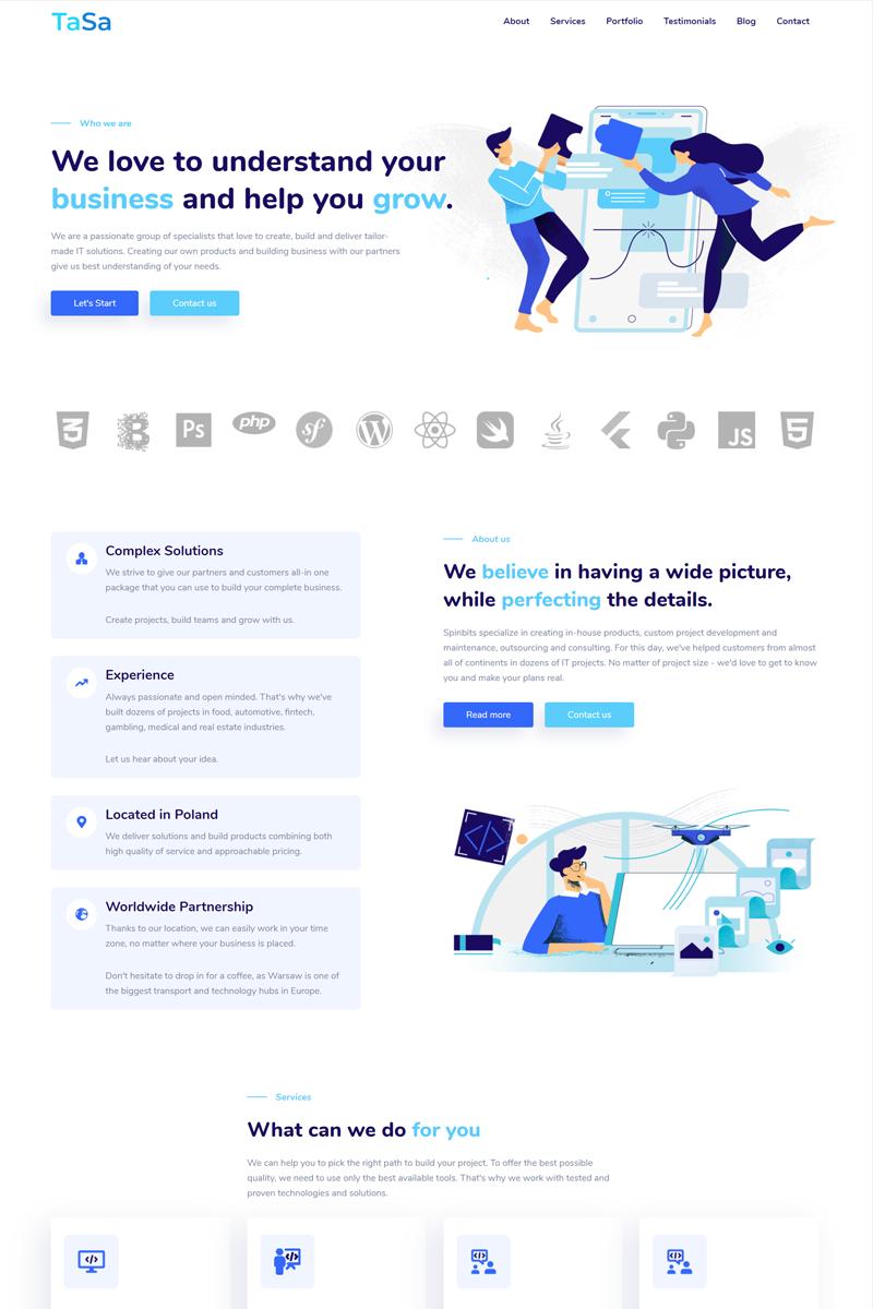 TaSa - agency portfolio Landing Page Template