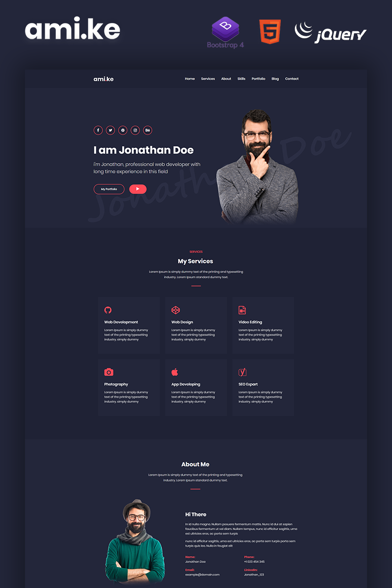 Amike - Personal Portfolio Boostrap 4 Website Template