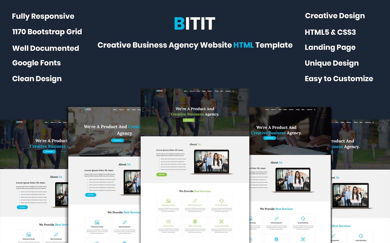 """BITIT- Creative Business Agency"" 响应式网页模板 #99863"