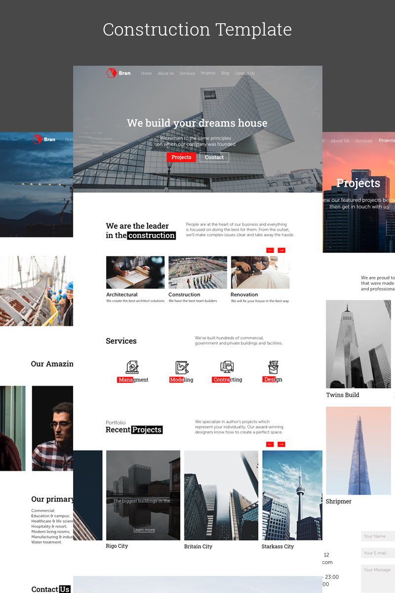 Bran - Construction Company Responsive Website PSD Template