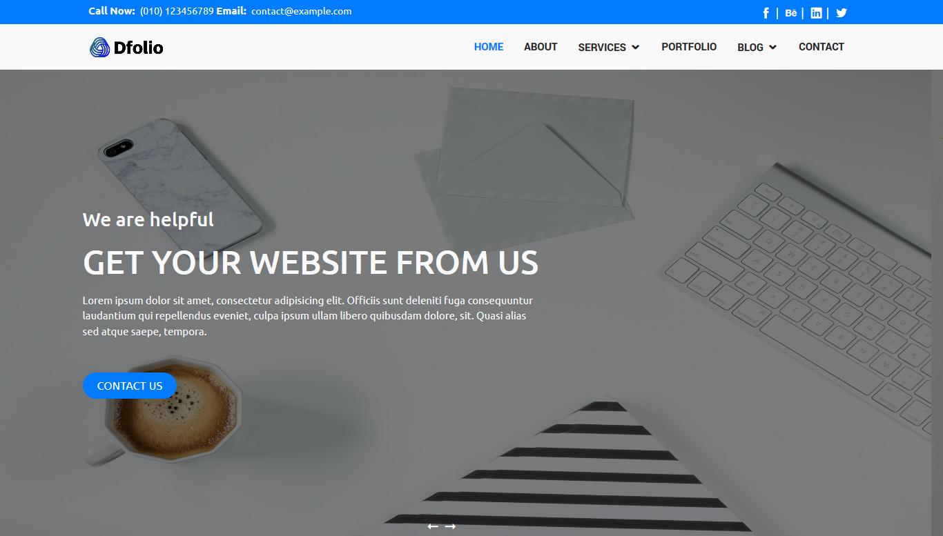 Dfolio - Multipurpose Responsive Bootstrap HTML Website Template