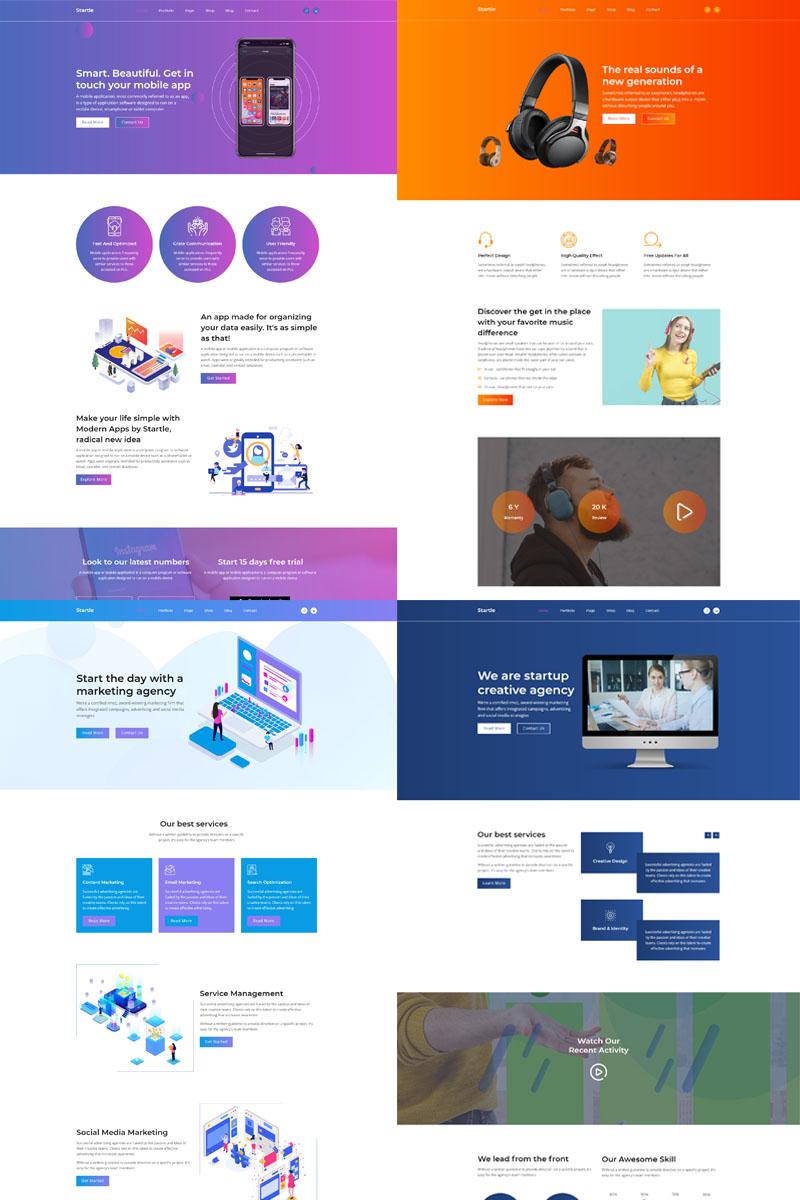 """Luxusní Muse šablona """"Startle-App Landing Startup Agency"""" #99812"""