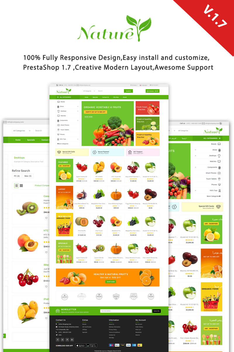 Nature Responsive Tema PrestaShop №99815