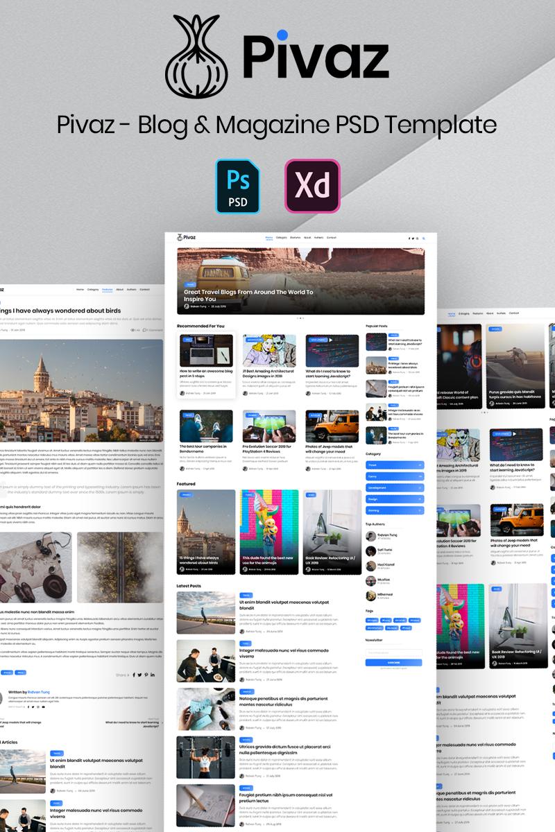 """""""Pivaz - Blog & Magazine"""" modèle PSD Premium #99870"""