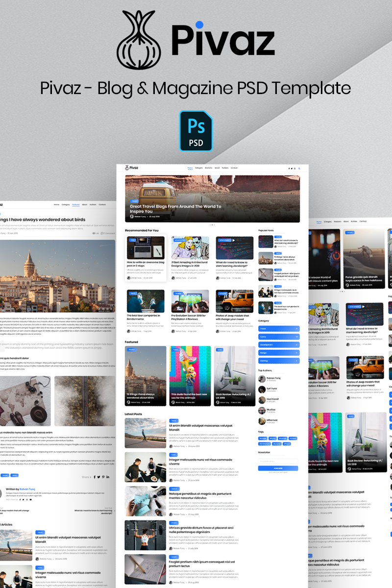 Pivaz - Blog & Magazine PSD Template