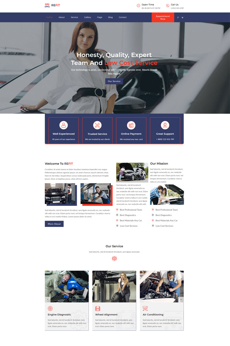 "Plantilla Muse ""REFIT-Car Wash And Repair Service"" #99818"