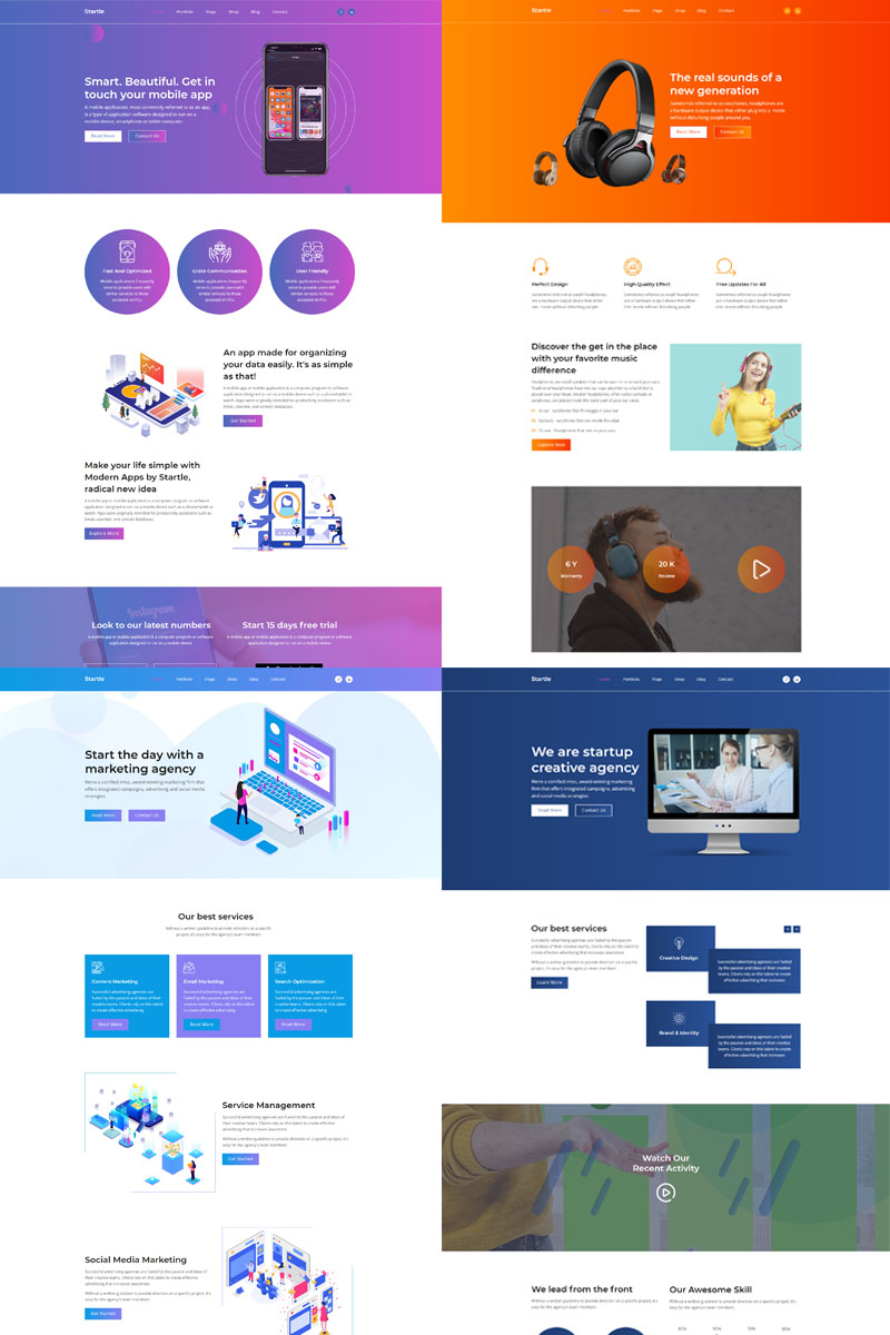 Prémium Startle-App Landing Startup Agency Muse sablon 99812
