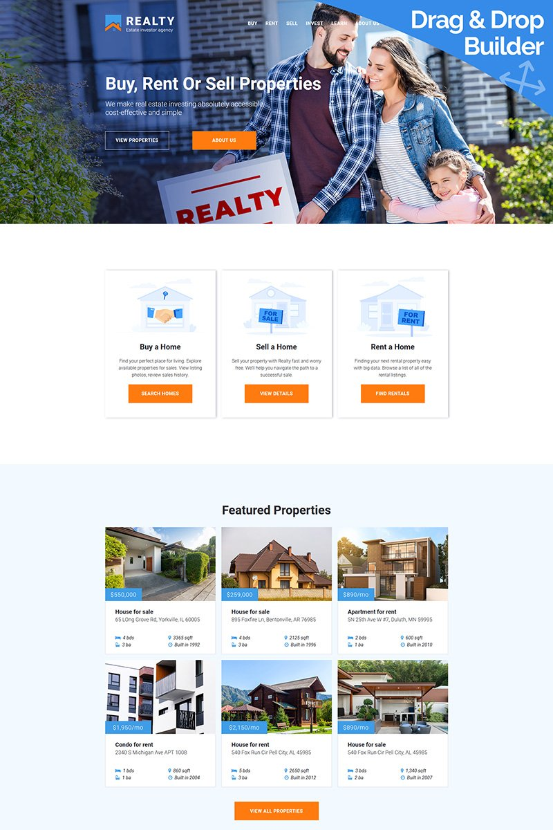 REALTY - Estate investor agency Moto CMS 3 Template