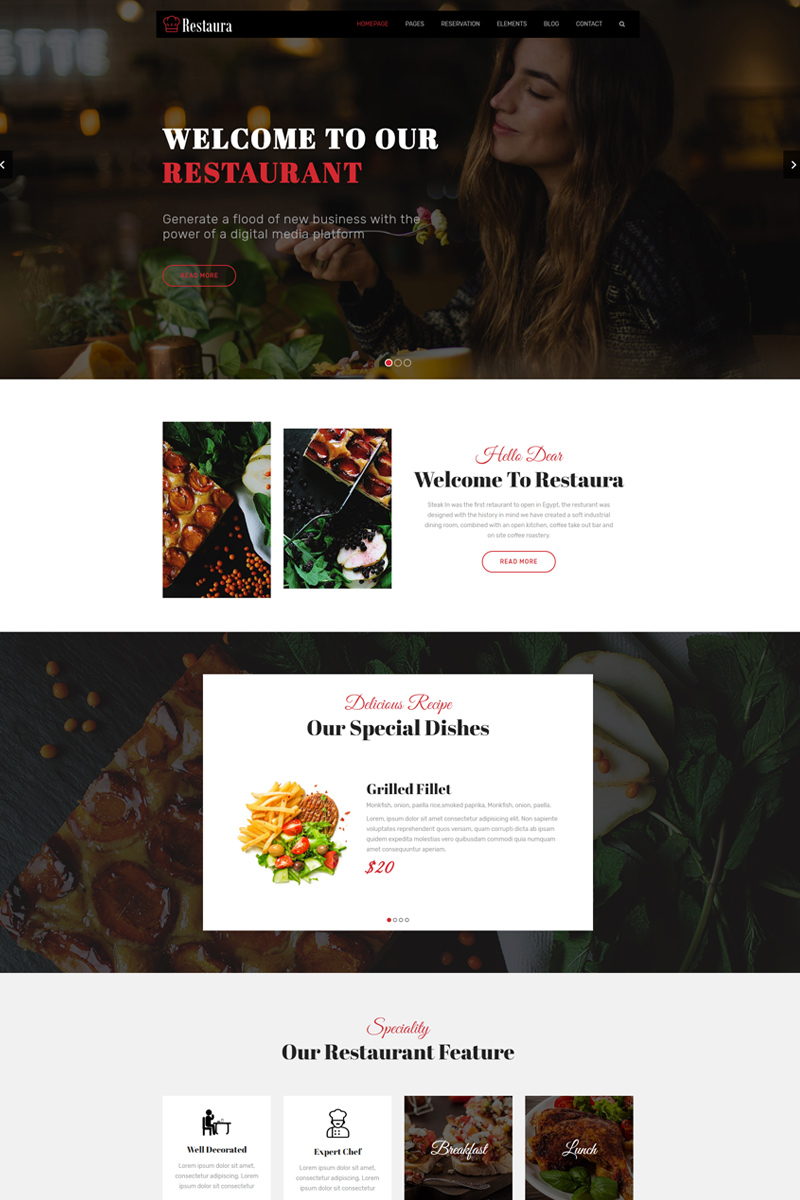 """Restaura - Restaurant and Food HTML5"" modèle web adaptatif #99874"