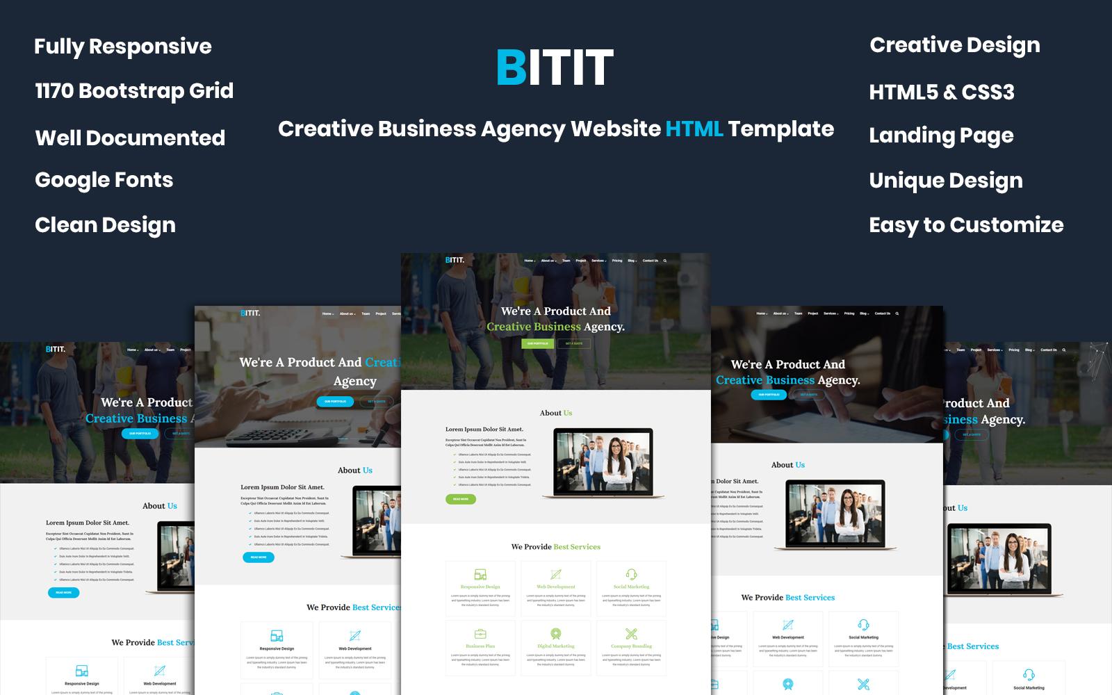 Reszponzív BITIT- Creative Business Agency Weboldal sablon 99863