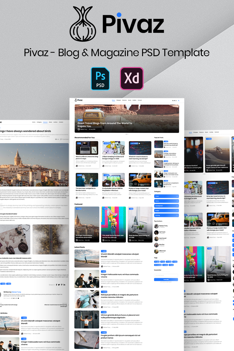 "Tema PSD #99870 ""Pivaz - Blog & Magazine"""
