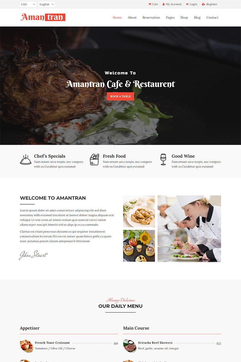 "Website Vorlage namens ""Amantran - Restaurant HTML5"" #99816"