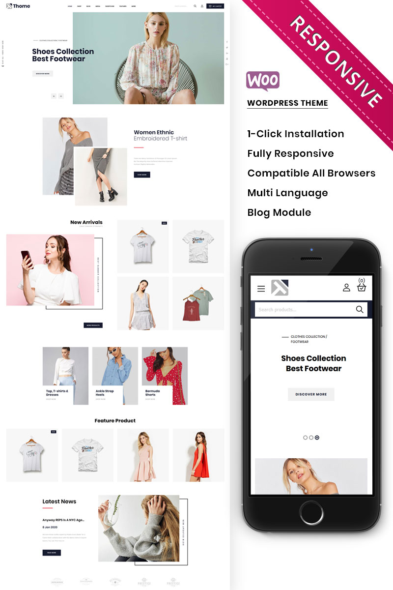 "WooCommerce Theme namens ""Thome - The Minimal Store Responsive"" #99814"