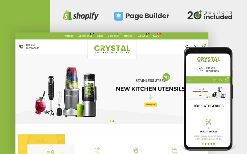 """""""Crystal Kitchen Store"""" Responsive Shopify Thema №99913"""