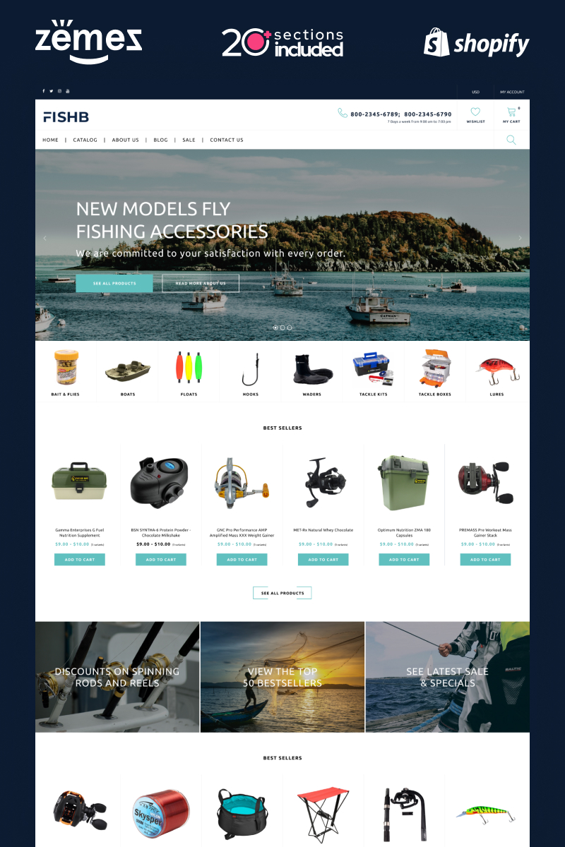FishB - Shopify Fishing Website Design Template Shopify Theme