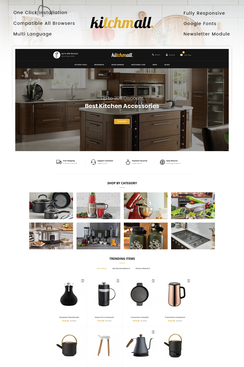 """""""Kitchmall - Kitchen Store"""" Responsive OpenCart Template №99912"""