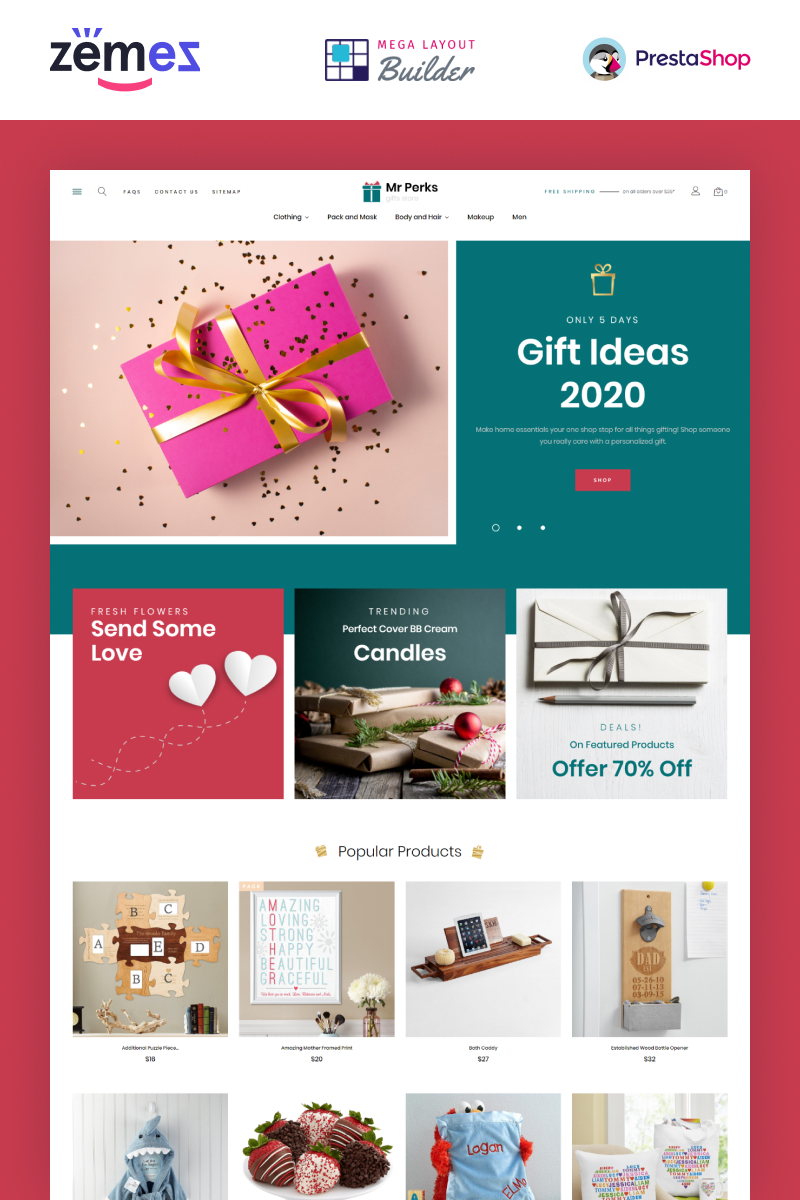 """Mr Perks - Gifts Store Template"" thème PrestaShop adaptatif #99916"