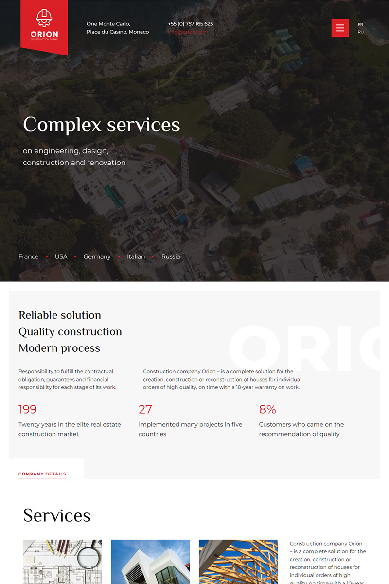 Orion - Construction Multipage HTML №99911