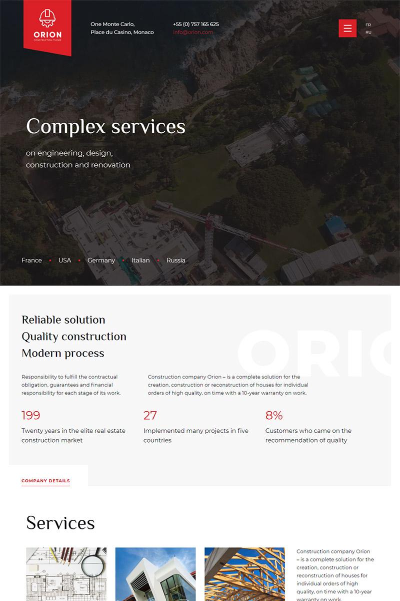 "Plantilla Web ""Orion — Construction Multipage HTML"" #99911"