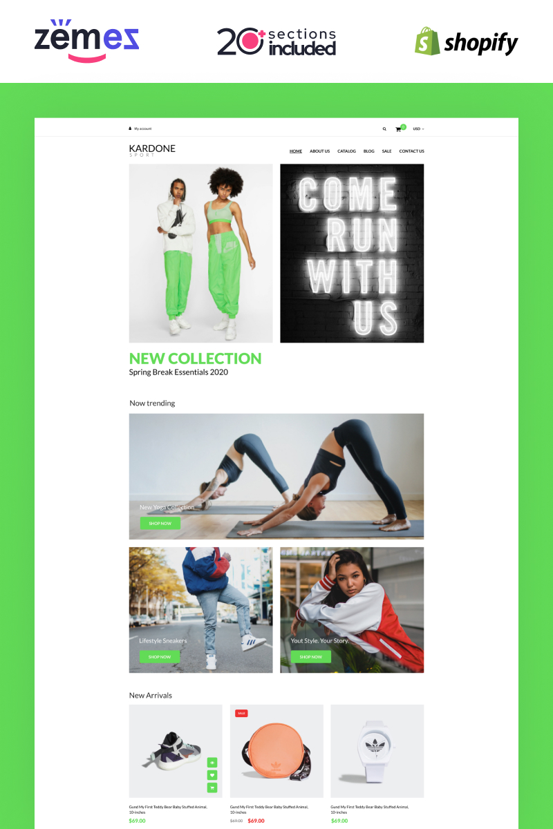 Responsivt Kardone - Sports Equipment Online Store Template Shopify-tema #99978