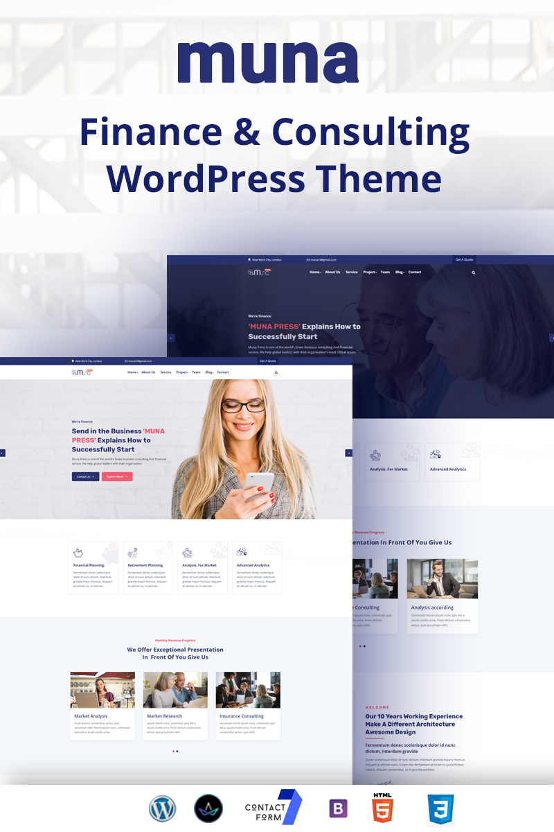 Responsywny motyw WordPress Muna - finance & Consulting Business #99914