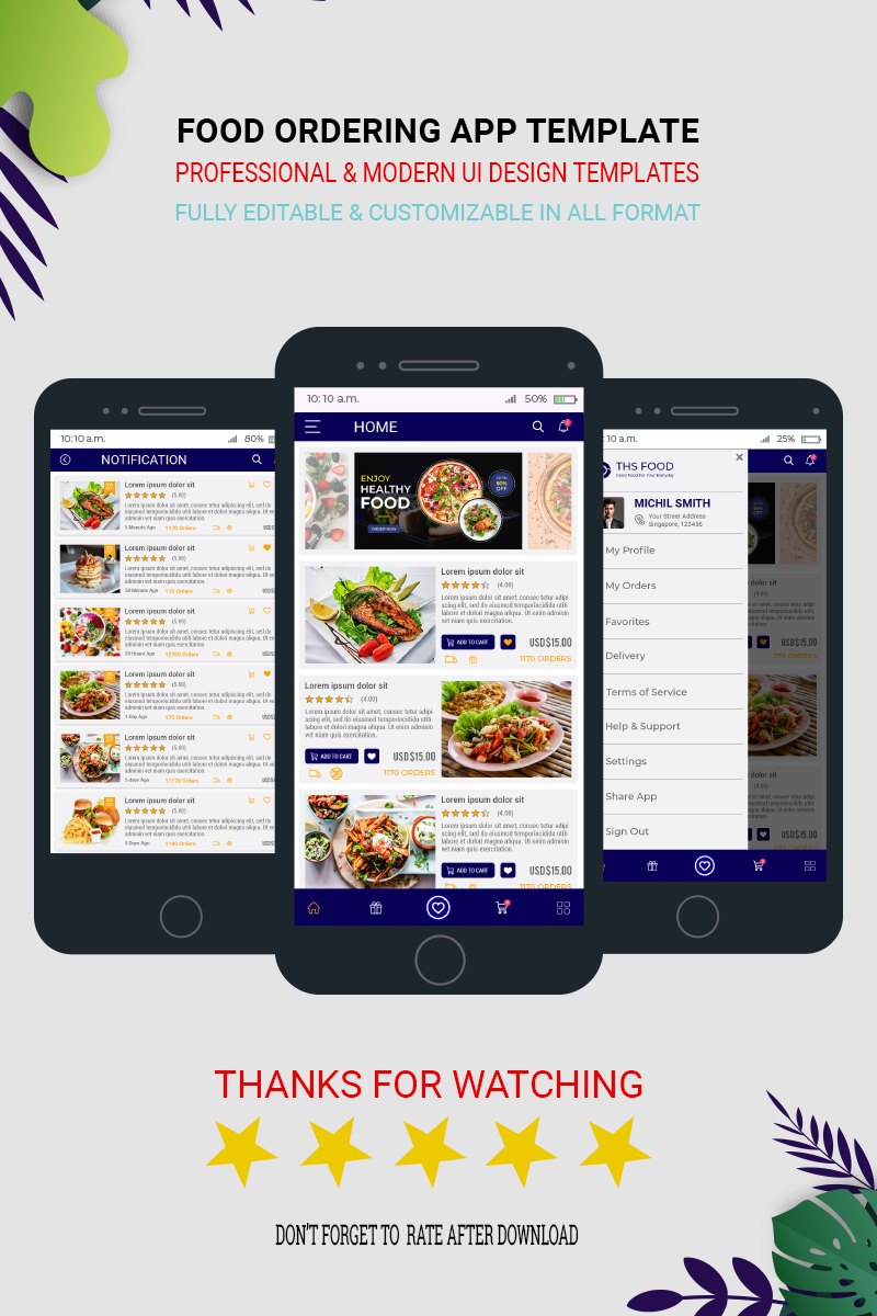 Ths Food Mobile App UI Kit PSD Template