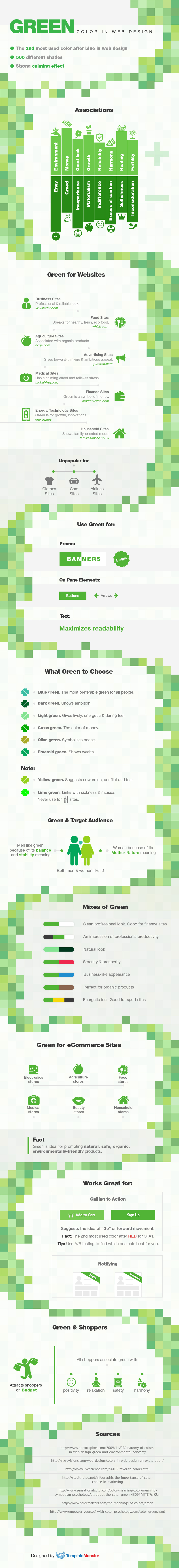 green color in web design infographics