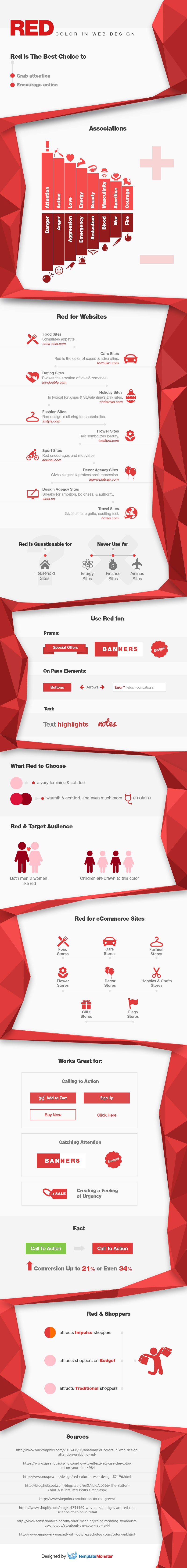 red color in web design infographics monsterpost