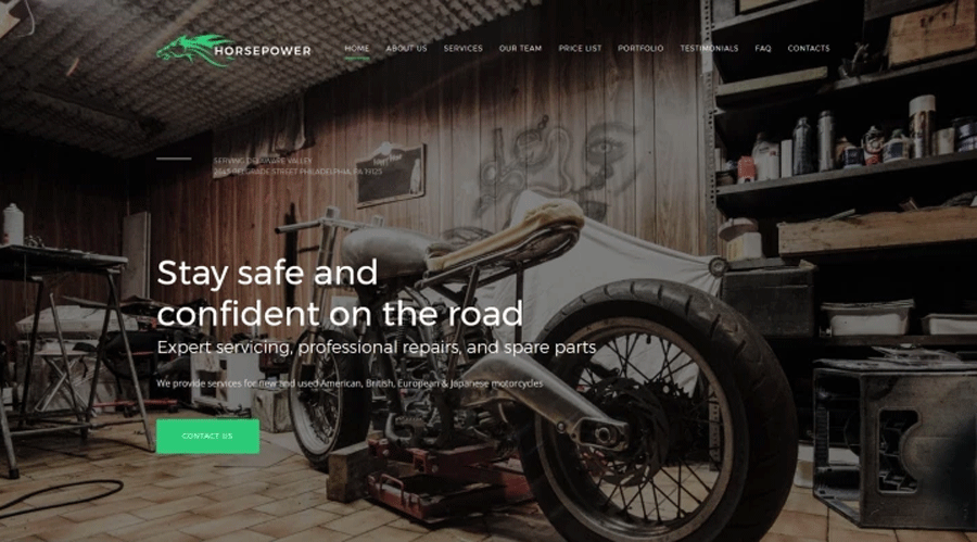 Horsepower - Motorcycle Repairs Premium Moto CMS 3 Template