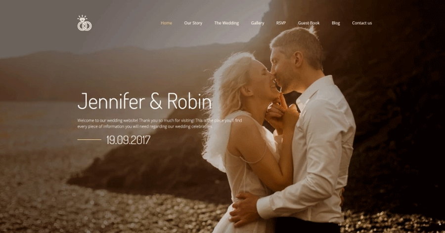 Jennifer & Robin - Wedding Premium Moto CMS 3 Template
